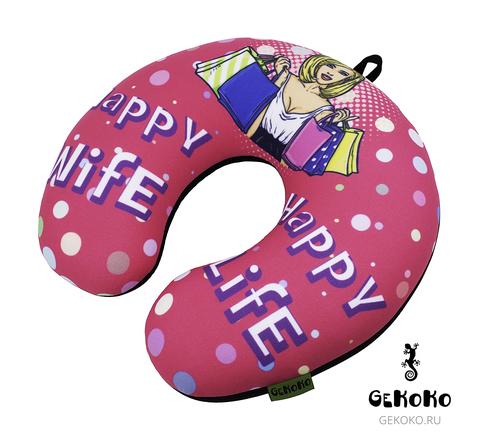 Подушка-подголовник «Happy Wife», розовая-2