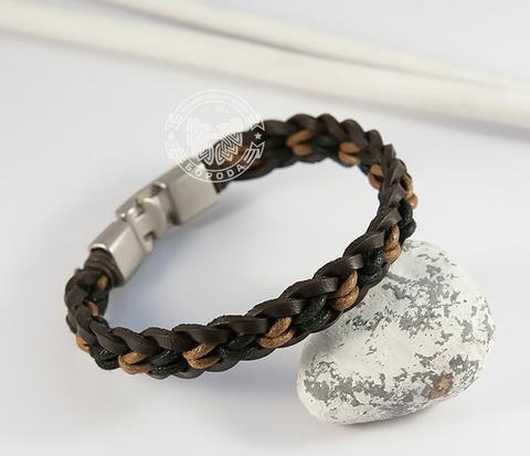 BL432-2 Плетеный мужской браслет из натуральной кожи и веревок (19,5 см)