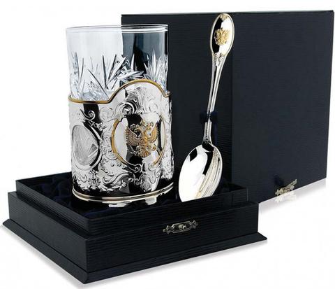 Cеребряный набор для чая «Герб России» с позолотой из 3 предметов