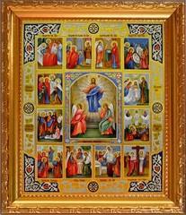 Воскресение Христово с двунадесятыми праздниками. Икона на холсте.