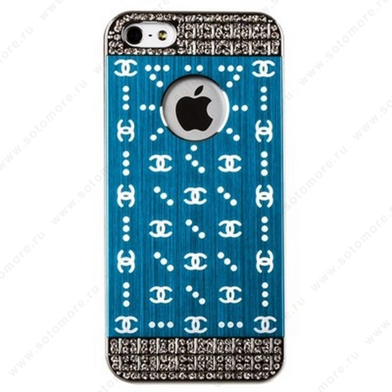 Накладка CHANEL металлическая для iPhone SE/ 5s/ 5C/ 5 серебро голубая