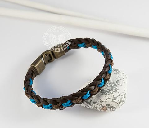 BL432-3 Плетеный мужской браслет из натуральной кожи и веревок (21,5 см)