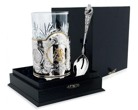 Серебряный набор для чая «Георгий Победоносец» из 3 предметов