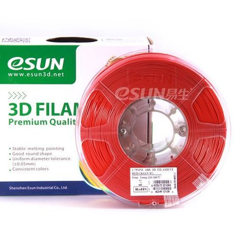 Пластик ABS ESUN 1.75 мм 1кг., красный (ABS175R1)