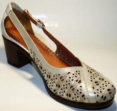 Летние женские туфли кожаные на толстом каблуке Marani Magli