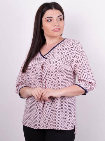 Леона принт. Стильная блуза больших размеров. Пудра.