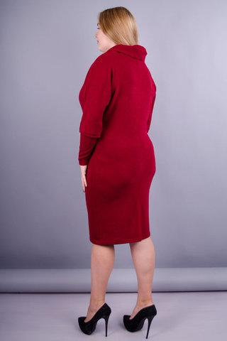 Бриана. Платье плюс сайз на каждый день. Бордо.