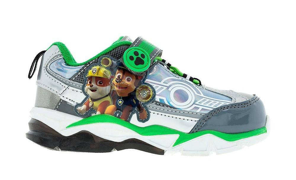 Светящиеся кроссовки Щенячий патруль (Paw Patrol) на липучках для мальчиков, цвет серебристый