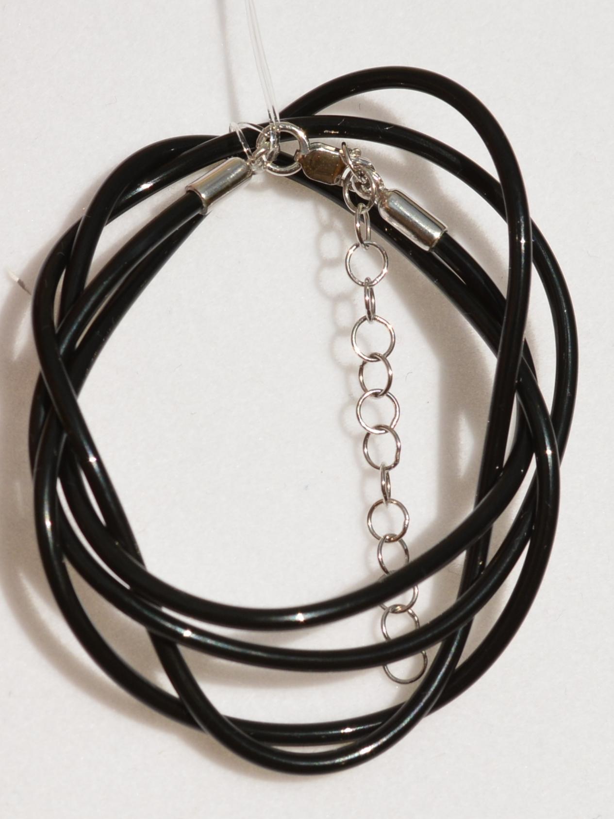 Шнурок из силикона 0,2 см. (с серебряной застежкой).