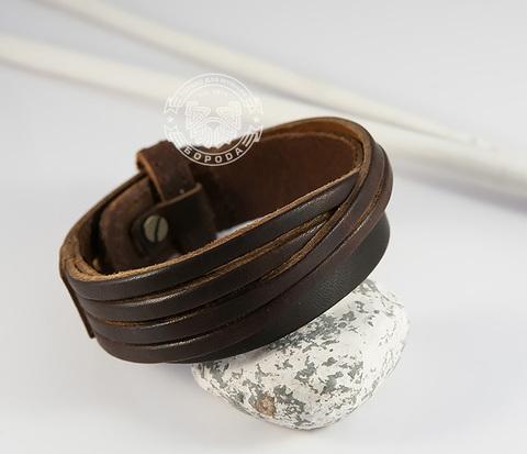 BL434-2 Стильный мужской браслет из натуральной кожи коричневого цвета