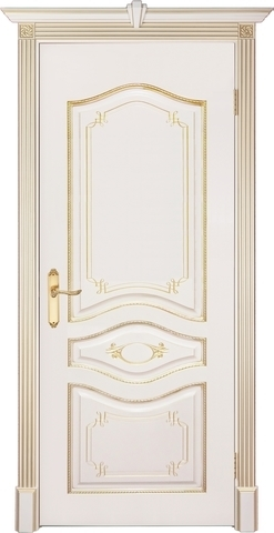 Дверь Prestigio Герарди-3, цвет слоновая кость/патина золото, глухая