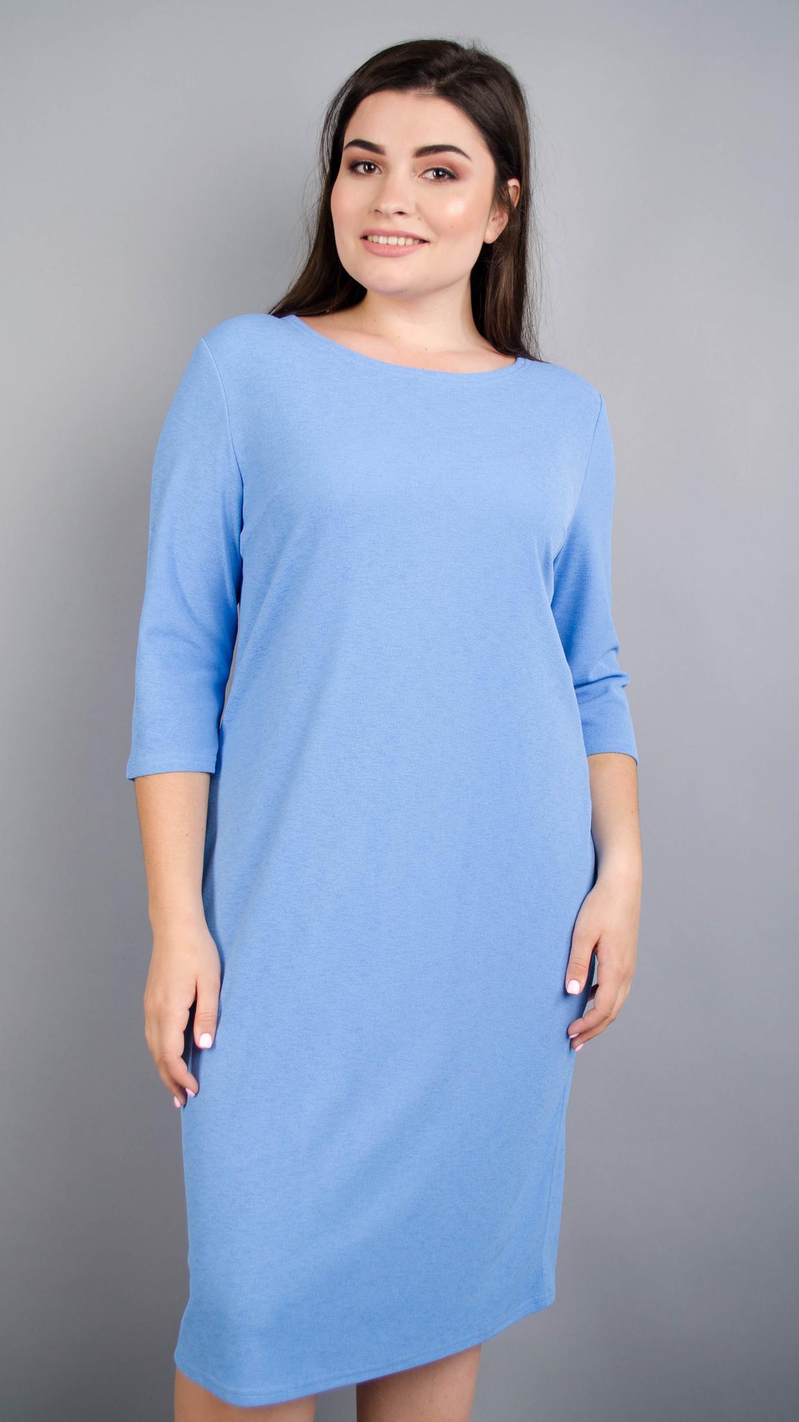 Аріна креп. Універсальна сукня великих розмірів. Блакитний.