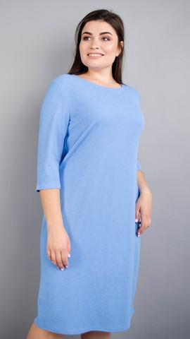 Арина креп. Универсальное  платье больших размеров. Голубой.