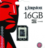 Карта памяти Kingston MicroSD (Class 10) 16gb + адаптер