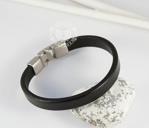 BL435-1 Стильный мужской браслет из натуральной кожи черного цвета