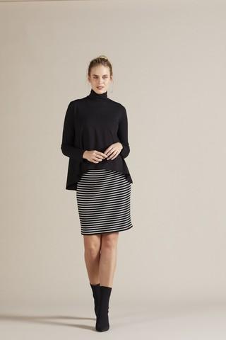 Платье 09801 черно-белая полоска