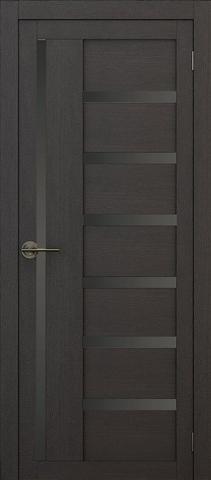 Дверь APOLLO DOORS F17, стекло чёрное Lacobel, цвет каштан тёмный, остекленная