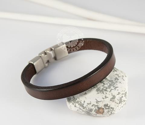 BL435-2 Стильный мужской браслет из натуральной кожи коричневого цвета