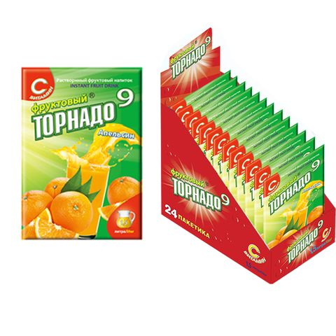 напиток Фруктовый Торнадо 9 апельсин, 1кор*12бл*24шт, 9г.