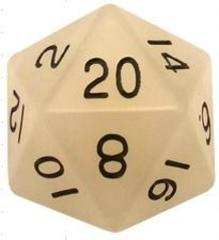Mega Acrylic D20: Glow Clear with Black Numbers