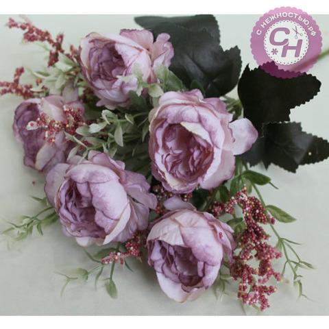Пионы искусственные волнистые, букет 5 цветков, 31 см.