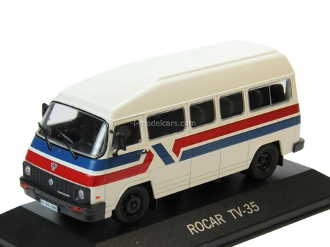 Rocar TV-35 white with stripes 1:43 DeAgostini Masini de legenda #80