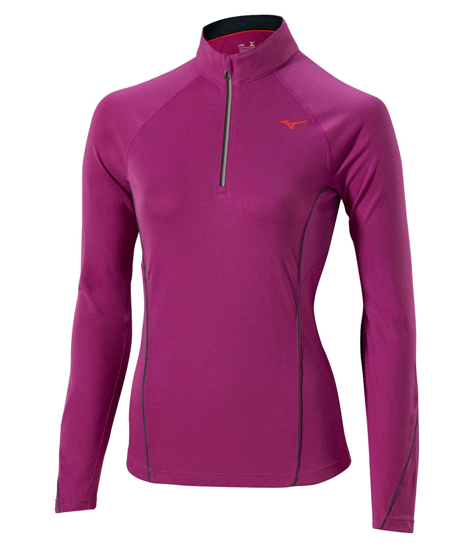 Женская беговая рубашка Mizuno WarmaLite Zip LS Tee (J2GA5709 66)