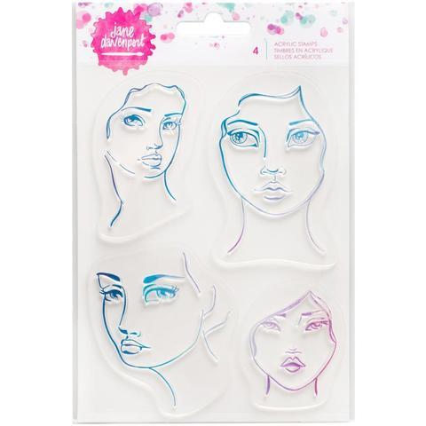 "Набор штампов для ""Микс медиа""-  Jane Davenport Mixed Media Acrylic Stamps -4 Faces"