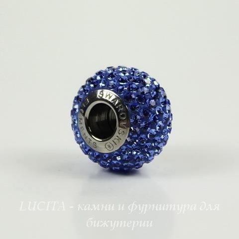 80101 Бусина Сваровски BeCharmed Pave Sapphire 14х9 мм
