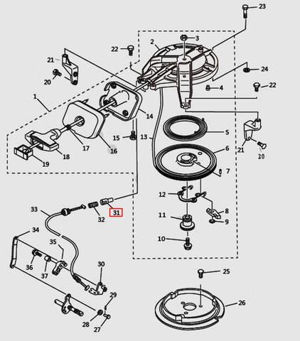 Стопор троса блокировки стартера для лодочного мотора T9.8 Sea-PRO (7-31)
