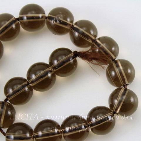 Бусина Кварц дымчатый, шарик, цвет - прозрачно-дымчатый, 10 мм, нить