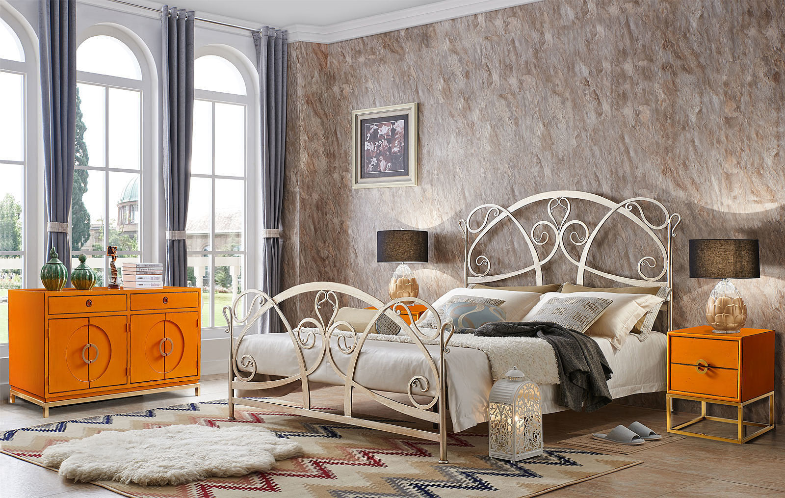 Кованая кровать TDF1606 GOLD (золото) и Тумба прикроватная ESF FL-7814 оранжевая