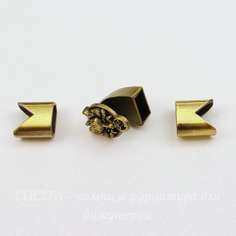 """Замок для шнура 5 мм из 3х частей """"Дракон"""" 17х15х14 мм, 13х13х7 мм (цвет - античная бронза)"""