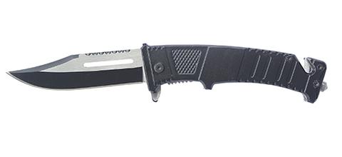 Мужской недорогой брутальный стальной чёрный складной нож с клинком 75 мм и чёрной рукояткой в коробке Stinger FK-611B