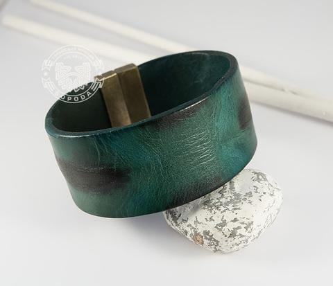 BL436-3 Яркий мужской браслет из натуральной кожи зеленого цвета (22 см)