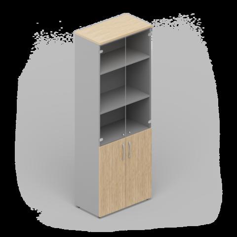 Шкаф комбинированный с тонированными стеклянными дверьми