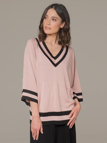 Женский джемпер светло-розового цвета с v-образным вырезом - фото 1