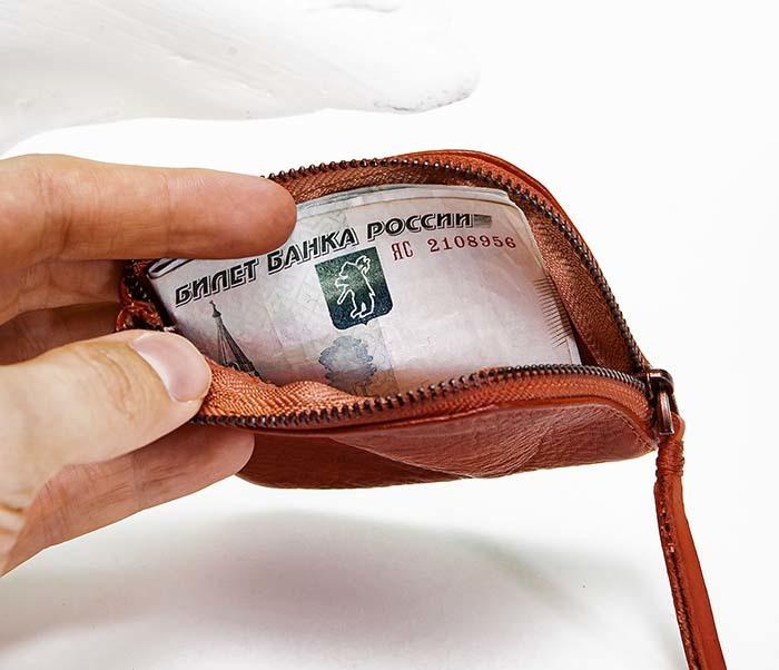 WL341-3 Кожаный мини кошелек красного цвета фото 07