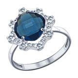 Кольцо из серебра с синей стеклянной вставкой и фианитами