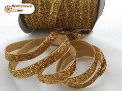 Лента бархатная люриксовая темно-золотая ширина 1 см