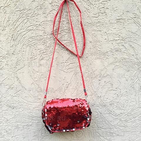 Сумочка-клатч детская с пайетками меняющая цвет Красная-Серебристая