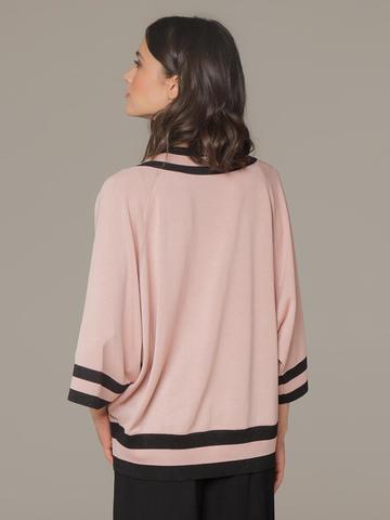 Женский джемпер светло-розового цвета с v-образным вырезом - фото 3