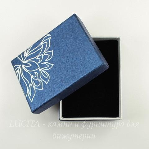 """Подарочная коробочка """"Цветок"""" (цвет - синий), 90х70х31 мм"""