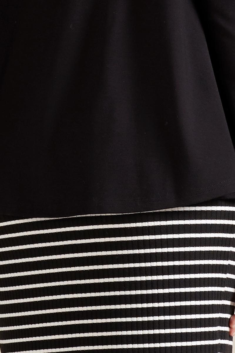 Платье для беременных и кормящих 09801 черно-белая полоска