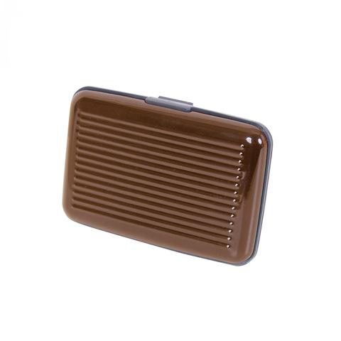 Кейс-кредитница защитная металлическая из алюминия для кредитных карт Security Credit Card Wallet коричневая