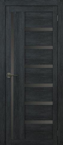 Дверь APOLLO DOORS F17, стекло чёрное Lacobel, цвет дуб серый, остекленная