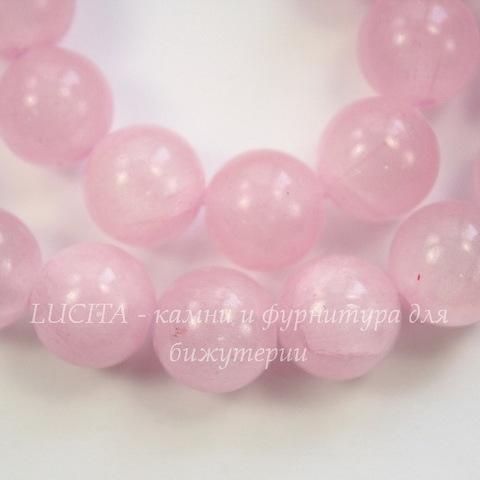 Бусина Жадеит (тониров), шарик, цвет - светлый сиреневый, 10 мм, нить