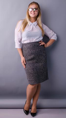 Пион букле. Офисная юбка больших размеров. Серый.