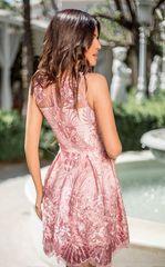 fenzo.shop 28528 Короткое платье  выполненное из сетки с эффектной вышивкой.Цвет: лилово-розовый Застежка: Потайная молния сзади