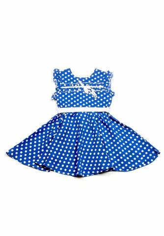 Деми-М Платье для девочки MP19 синее в горошек